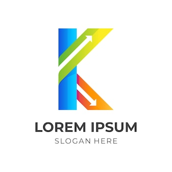 K の文字の矢印のロゴ、k の文字と矢印、組み合わせのロゴ Premiumベクター