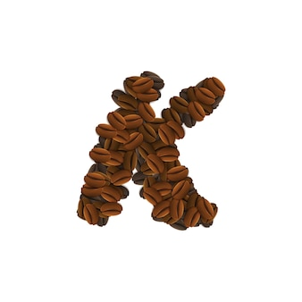 Letter k of coffee grains