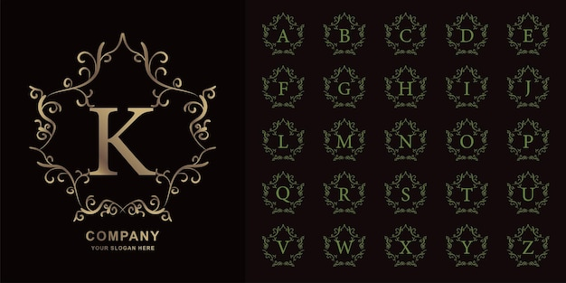 Letter k or collection initial alphabet with luxury ornament floral frame golden logo template.