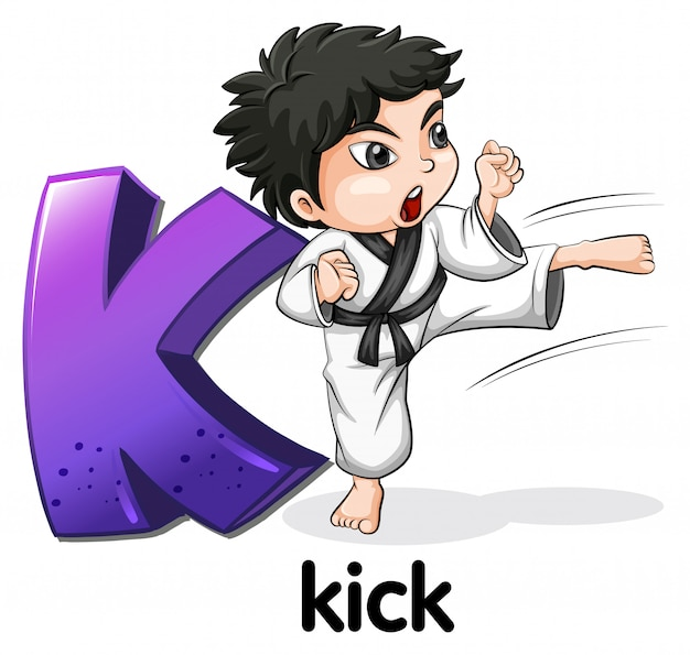 A letter k for kick
