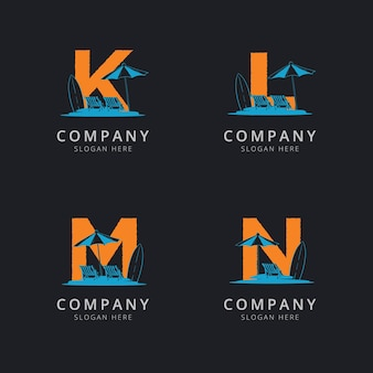 抽象的なビーチのロゴのテンプレートと文字klmとn