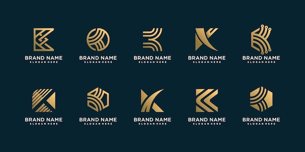 회사 황금 편지 k 로고 컬렉션