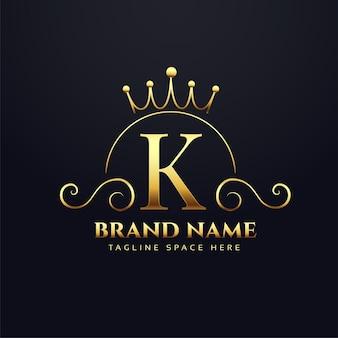 왕실 브랜드의 letter k 로고 개념