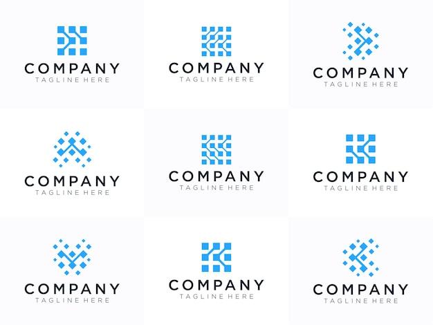 Letter k logo design template. dynamic, universal fast moving dots, atoms, blocks, color symbol.