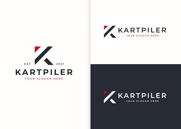 文字kのロゴデザインテンプレート。ベクトルイラスト
