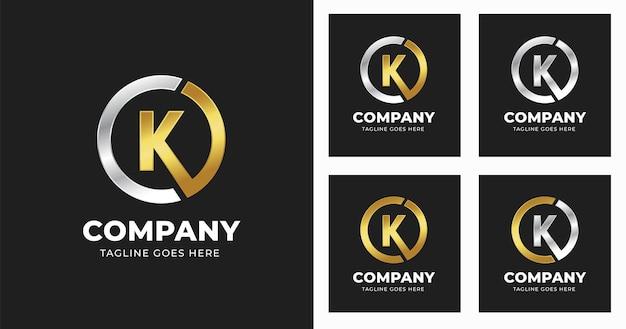원형 모양 스타일로 편지 k 로고 디자인 서식 파일