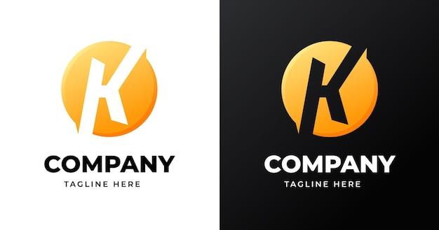 원 모양 스타일의 편지 k 로고 디자인 서식 파일