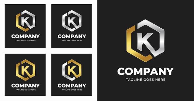 기하학적 모양 스타일로 편지 k 로고 디자인 서식 파일