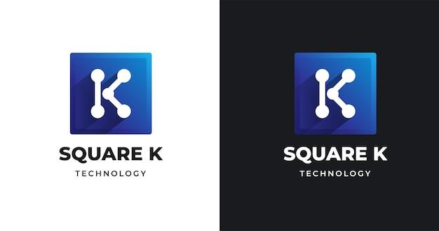 사각형 모양 스타일의 편지 k 로고 디자인 서식 파일