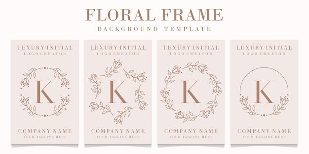 Letter k logo design with floral frame template