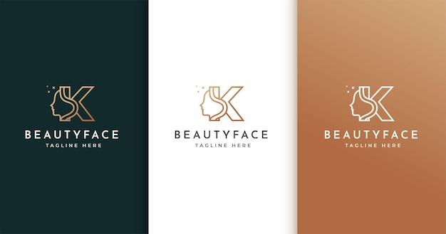 女性の顔と文字kのロゴデザイン