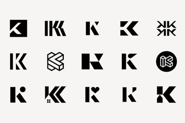 Letter k logo type set collection