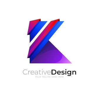 文字kロゴベクトル画像、カラフルなデザインテンプレート