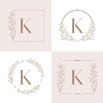 Letter k logo with floral frame background template
