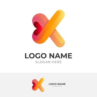文字kの愛のロゴ、文字kと愛、3dカラフルなスタイルの組み合わせのロゴ