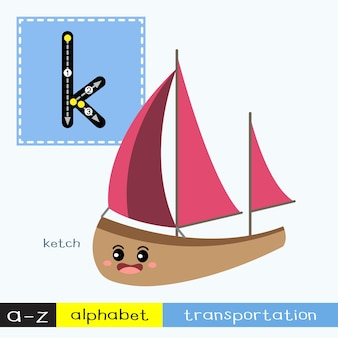 Letter k lowercase tracing transportations vocabulary