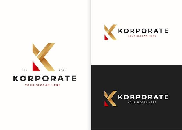文字kの豪華なロゴデザインテンプレート。ベクトルイラスト