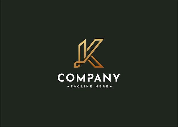 Letter k luxury monogram logo design