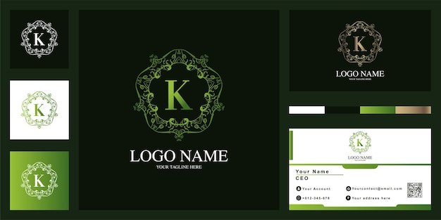 Letter k luxury ornament flower frame logo template design with business card.