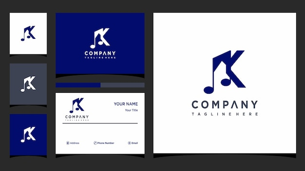 文字k音楽ロゴデザインベクトルプレミアムベクトル