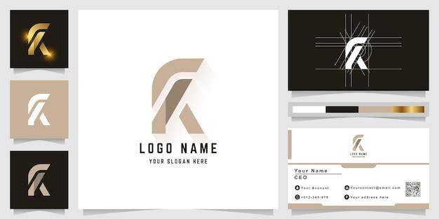 명함 디자인의 문자 k 또는 fk 모노그램 로고
