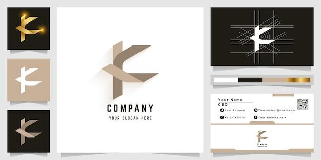 名刺デザインの文字kまたはkcモノグラムロゴ