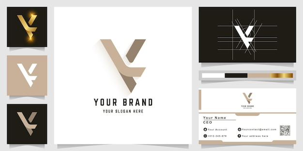 명함 디자인의 letter k 또는 ly 모노그램 로고