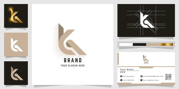 명함 디자인의 letter k 또는 ya 모노그램 로고