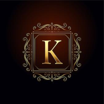文字kプレミアムロゴのコンセプトデザインテンプレート
