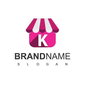 文字kストアのロゴデザインテンプレート、オンラインショップのシンボル。