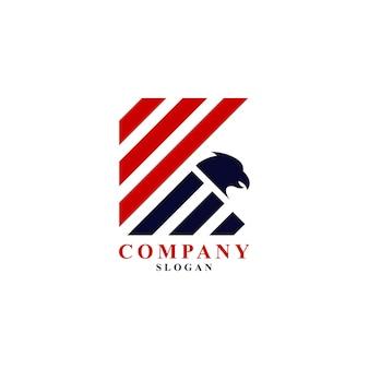 Буква k полосы флаг с вектором логотипа символа головы орла