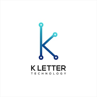 Letter k technology logo colorful gradient abstract