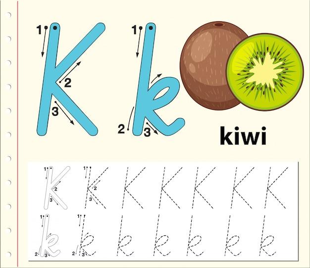 アルファベットのワークシートをトレースする文字k