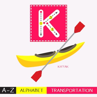 Letter k uppercase tracing transportations vocabulary