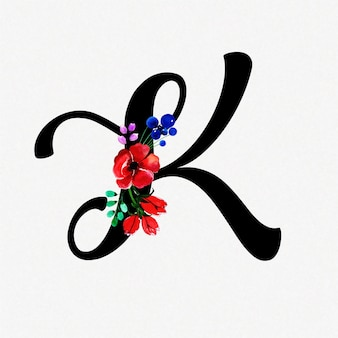Letter k watercolor floral background