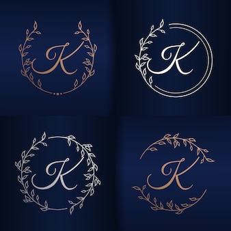 Letter k with floral frame logo template