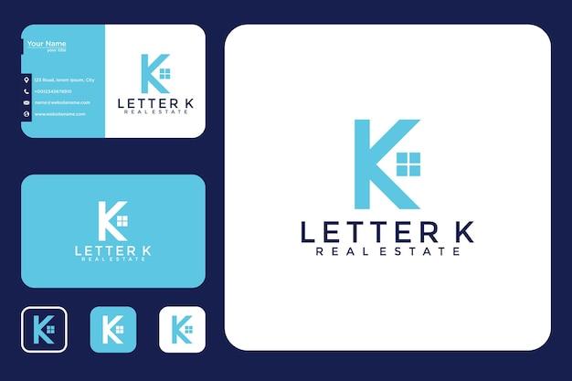家のロゴデザインと名刺の文字k