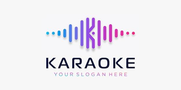 Буква k с пульсирующим элементом караоке, шаблон логотипа, эквалайзер, магазин электронной музыки, dj-музыка