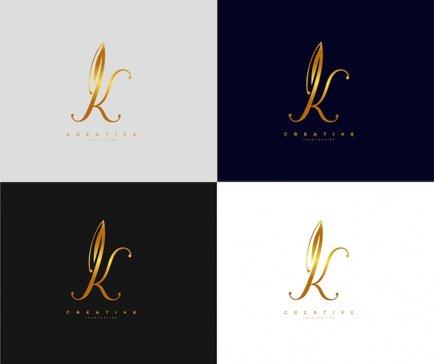 Letter k with signature icon symbol golden logo