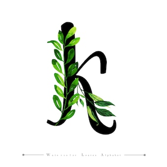 Letter k with watercolor leaves background