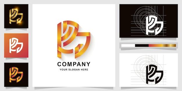 명함 디자인이 있는 편지 kpa 또는 ra 모노그램 로고 템플릿