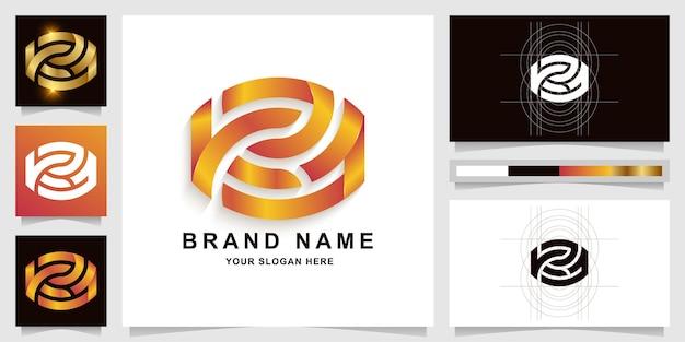 명함 디자인이 있는 편지 kza 또는 k21 모노그램 로고 템플릿