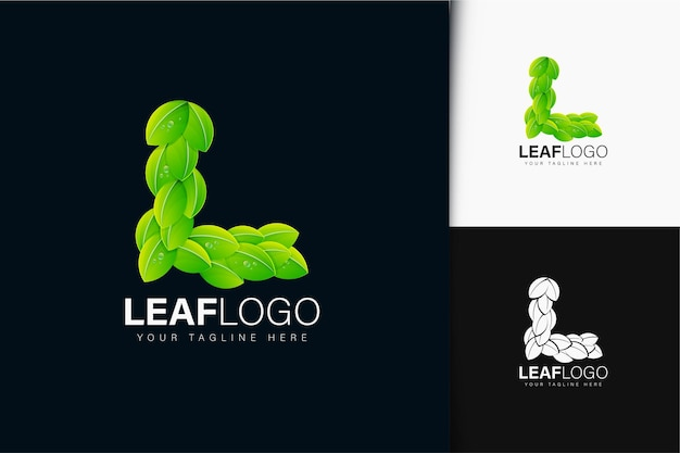 Буква l и дизайн логотипа листа