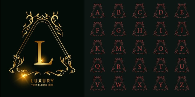 Letter l or collection initial alphabet with luxury ornament floral frame golden logo template.