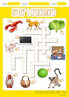 Letter l crossword concept