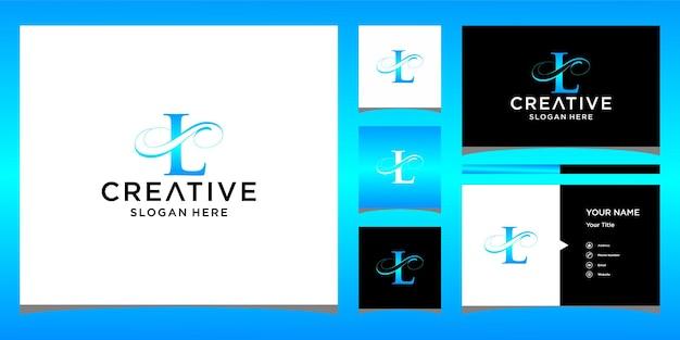 Letter l elegant logo design with business card design