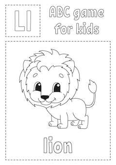 Letter l is for lion. abc game for kids. alphabet coloring page. cartoon character.