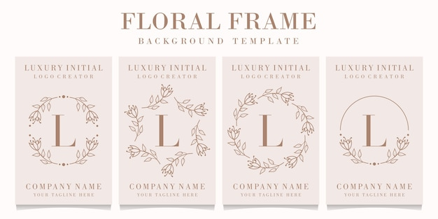 Буква l дизайн логотипа с цветочным шаблоном кадра
