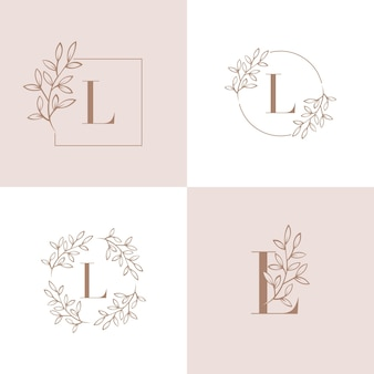 Letter l logo design with orchid leaf element