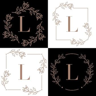 蘭の葉の要素と文字lロゴデザイン